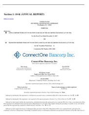 ConnectOne Bancorp Inc