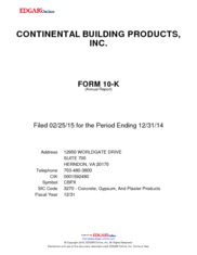 Continental Building Products Inc
