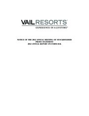 Vail Resorts Inc.