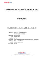 Motorcar Parts of America, Inc.