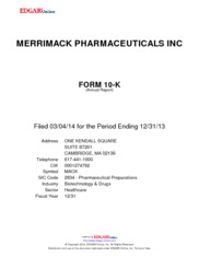 Merrimack Pharmaceuticals Inc