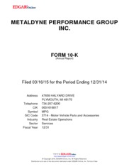 Metaldyne Performance Group Inc