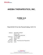 Akebia Therapeutics Inc