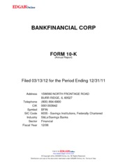 BankFinancial Corporation