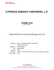Cypress Energy Partners LP
