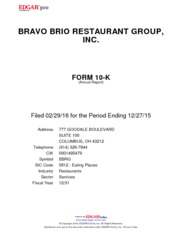 Bravo Brio Restaurant Group, Inc.