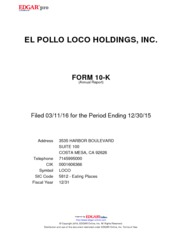 El Pollo LoCo Holdings Inc