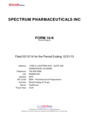 Spectrum Pharmaceuticals Inc.