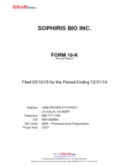Sophiris Bio Inc.
