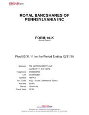 Royal Bancshares of Pennsylvania Inc.