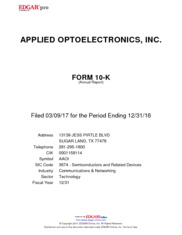 Applied Optoelectronics Inc
